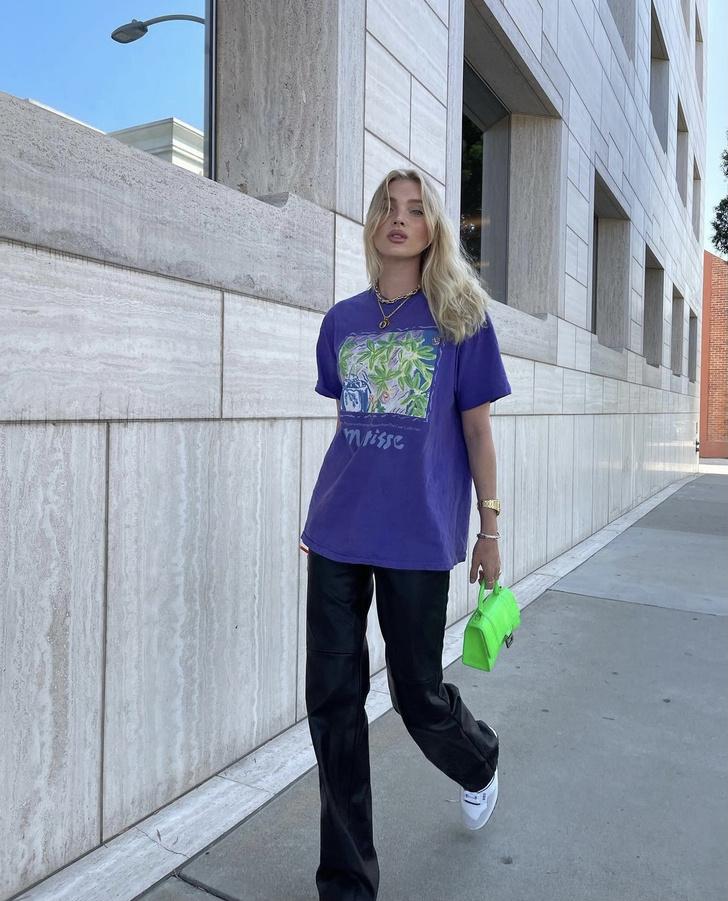 Фото №1 - +1 способ носить кожаные брюки этой осенью. Показывает Эльза Хоск