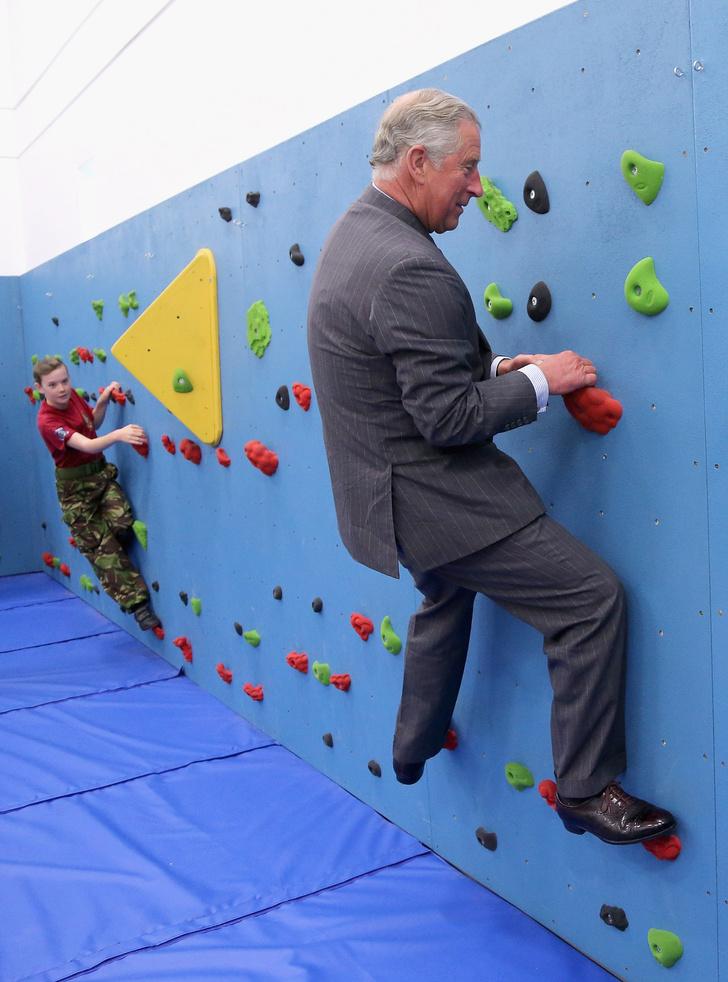 Фото №1 - Лучшие фотожабы на принца Чарльза на детском скалодроме