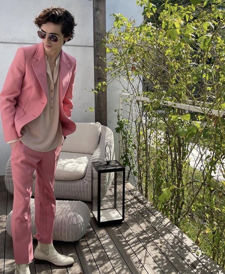 Фото №1 - Женский костюм розового цвета, который носит самый желанный мужчина. Тимоти Шаламе против гендерных стереотипов в моде