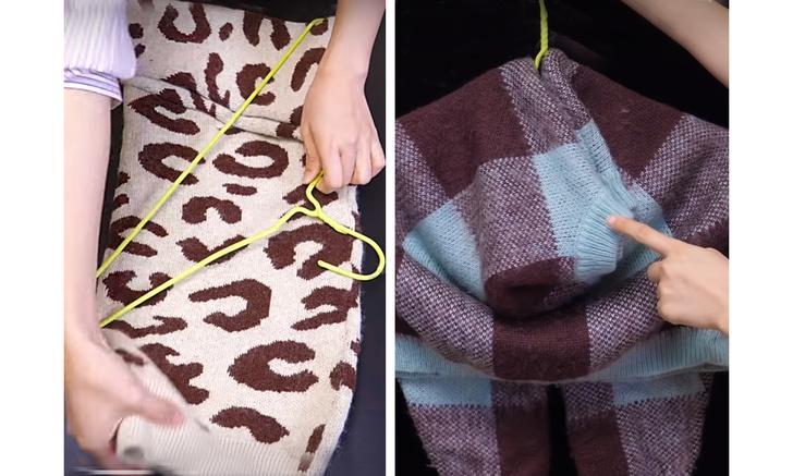Фото №1 - 3 способа вешать свитер так, чтоб не растянулись плечи и ворот (видео)