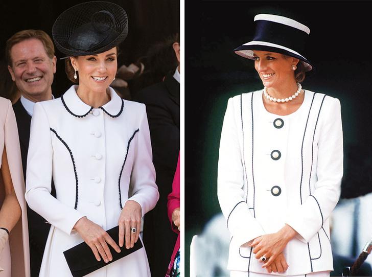 Фото №1 - Герцогиня Кейт повторила образ Дианы на церемонии Ордена Подвязки
