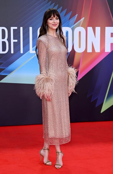 Фото №1 - Абсолютно «голое» платье Дакоты Джонсон с кристаллами и манжетами с перьями