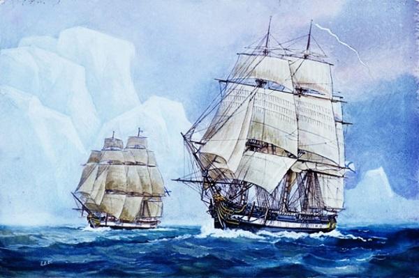 Военные шлюпы «Восток» и «Мирный» у побережья Антарктиды.