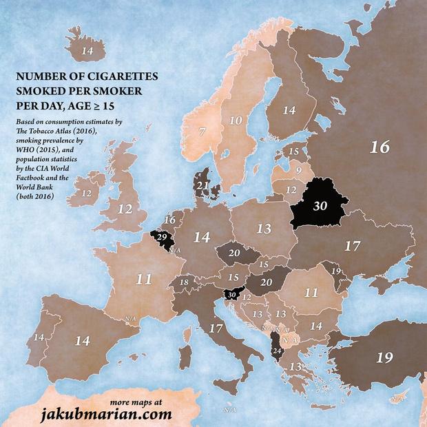 Фото №1 - Карта: сколько сигарет в день выкуривают в разных странах Европы