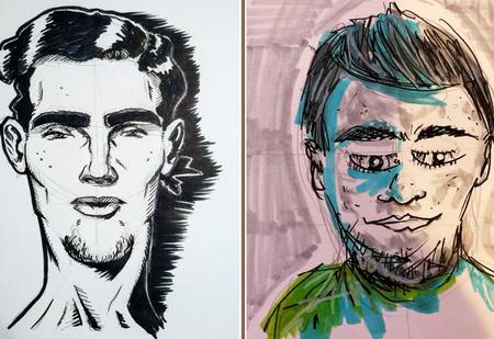 Парень предложил нарисовать его портрет по описанию. Вот что нарисовали и вот как он выглядит (18 рисунков и 1 фото)