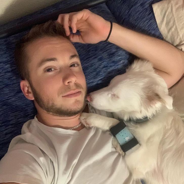 Фото №1 - Парень придумал, как будить свою глухую собаку, не напугав ее, и это видео набрало больше 50 миллионов просмотров