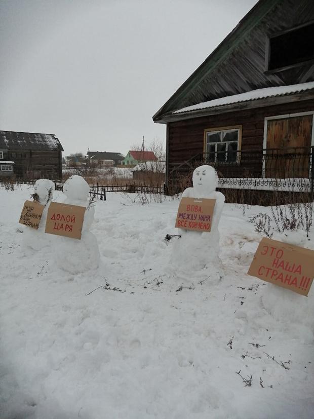 Фото №5 - В Архангельской области полиция разогнала несанкционированный митинг снеговиков (много фото)
