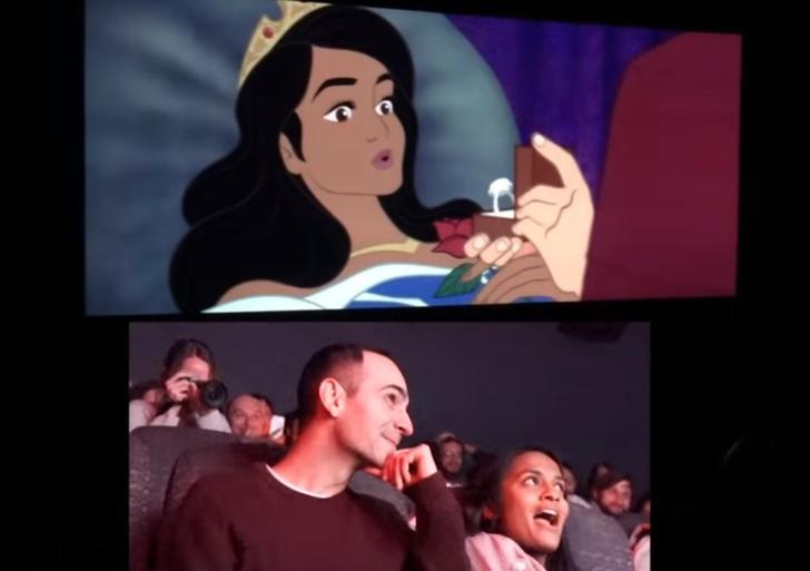 Фото №1 - Парень заменил героев знаменитого мультфильма Диснея на себя и свою девушку, чтобы позвать ее замуж