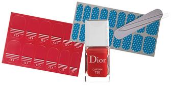 Dior Manucure Transat, 750 Captain; Maybelline New York Colorama, 13 Couture Fabrics.