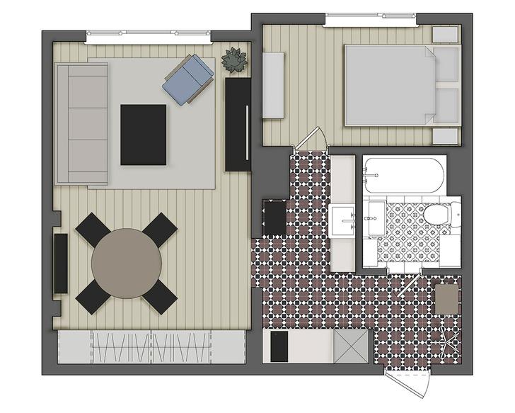 Фото №2 - Двухкомнатная квартира 37 м² с кухней в коридоре