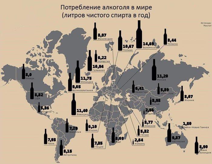 Фото №3 - Карта: Сколько выпивают в разных странах мира