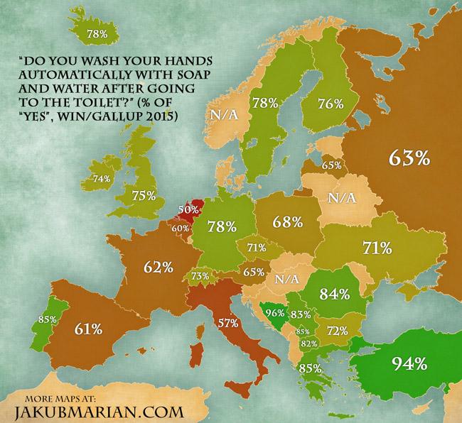Фото №1 - Карта, показывающая, какой процент жителей Европы моет руки после туалета