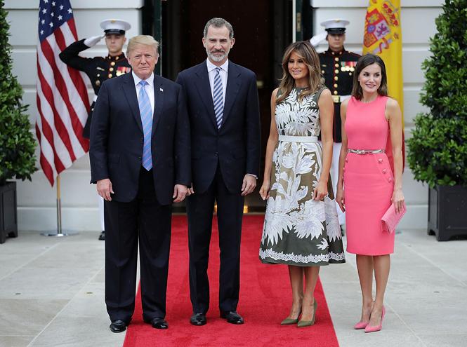 Фото №2 - Королева Летиция пришла на встречу с Меланией Трамп в платье Мелании Трамп