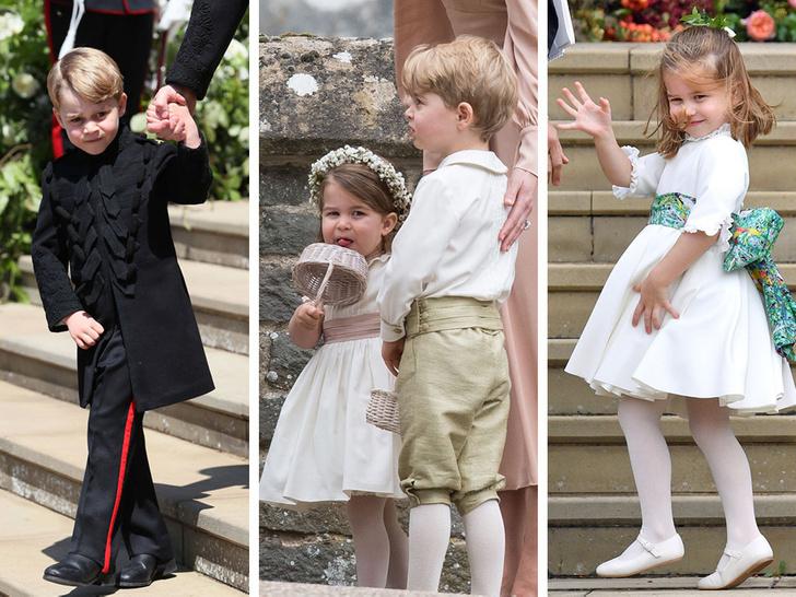 Фото №1 - Самые милые фото Джорджа и Шарлотты на королевских (и не только) свадьбах