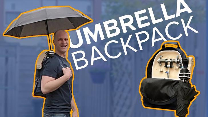 Фото №1 - Парень изобрёл рюкзак со встроенным зонтом (видео)