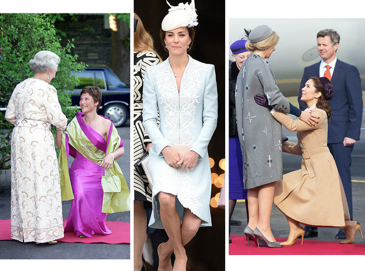 Фото №1 - Искусство реверанса: как современные принцессы и королевы приветствуют друг друга