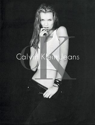 Кейт Мосс в рекламной кампании Calvin Klein Jeans, 1994 г.