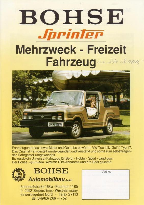 Первая продукция фирмы Bohse— багги на шасси VW Golf Mk 1