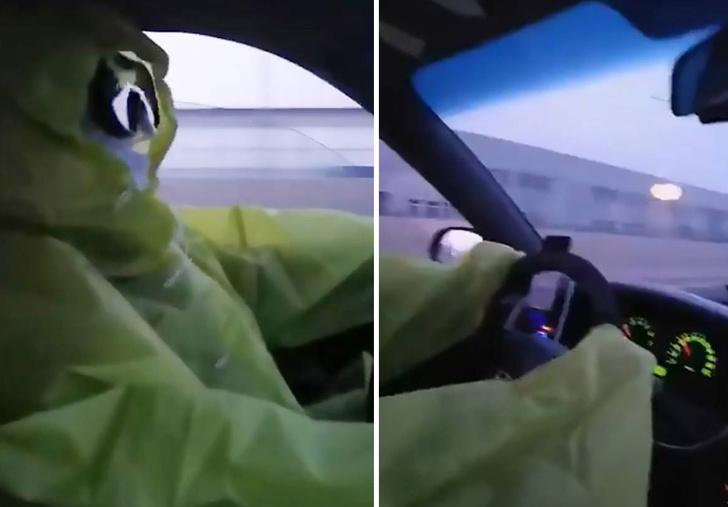 Фото №1 - В Китае водитель ведет такси в костюме химзащиты (видео)