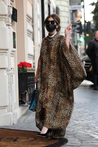 Фото №1 - Леопардовая туника, чокер с кристаллами и маска с шипами: Леди Гага в образе итальянской дивы