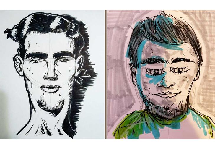 Фото №1 - Парень предложил нарисовать его портрет по описанию. Вот что нарисовали и вот как он выглядит (18 рисунков и 1 фото)