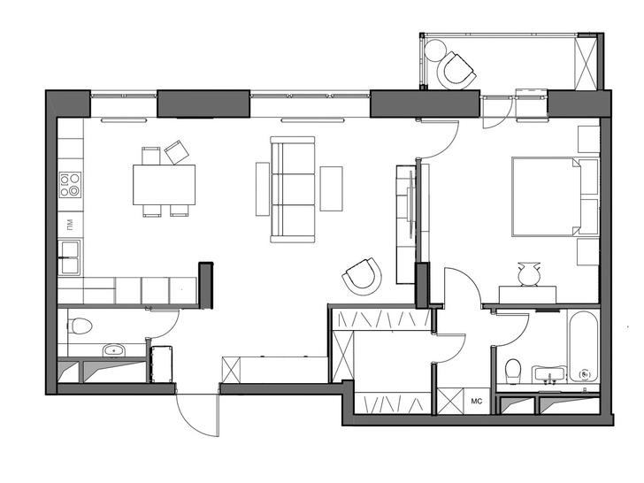 Фото №14 - Квартира 78 м² со стальной мозаикой на кухне