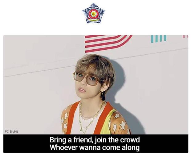 Фото №1 - Как в мире борются с ковидом: полиция Мумбая запустила мем с Ви из BTS 😜
