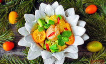 Салат с морским гребешком, мятой и апельсином