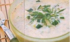 Молочный суп с йогуртом, огурцом и укропом