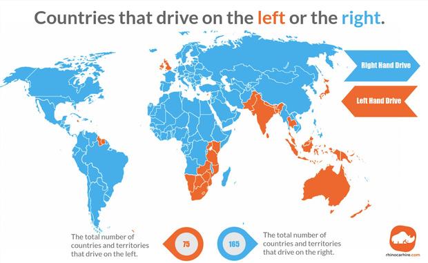 Фото №1 - Карта: в каких странах правостороннее движение, а в каких— левостороннее
