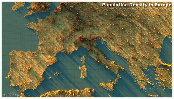 Фото №2 - Красивые трехмерные карты мира, показывающие распределение населения Земли
