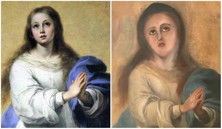 Фото №1 - Очередная бездарная реставрация картины: в Испании опорочили Деву Марию