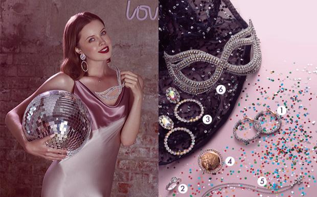 1) Серьги, 690 руб. 2) Кольцо, 240 руб. 3) Серьги, 940 руб. 4) Кольцо, 390 руб. 5) Ожерелье, 590 руб. 6) Маска, 290 руб. Все— Lady Collection