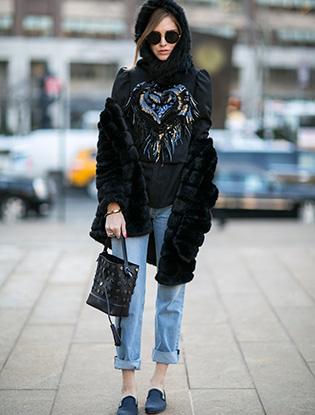 Streetstyle на Неделе моды в Нью-Йорке.