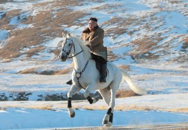 Фото №1 - Ким Чен Ын заехал на коне на священную гору, и эти фотографии обещают стать молниеносным мемом
