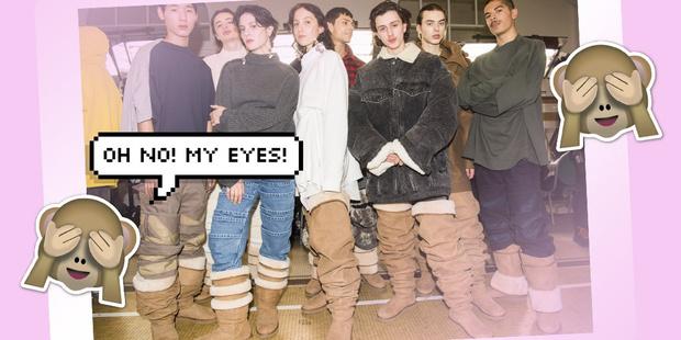 Фото №1 - На Неделе моды в Париже представили обувь, которую мы хотим развидеть: угги-ботфорты