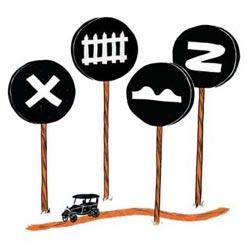 Первые дорожные знаки (если не считать таковыми верстовые столбы или камни с высеченными предсказаниями «налево пойдешь — коня потеряешь…») появились на улицах Парижа в 1900 году. Они представляли собой синие или черные квадраты, на которых были нарисованы символы, означавшие железнодорожный переезд, опасный поворот и неровную дорогу. В 1909 году во французской столице прошла конференция по автомобильному движению, разработавшая «Международную конвенцию относительно передвижения автомобилей». Конференция приняла в качестве международных четыре дорожных знака: «Неровная дорога», «Извилистая дорога», «Перекресток» и «Пересечение с железной дорогой».