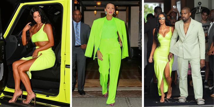Ким Кардашьян в неоновом платье