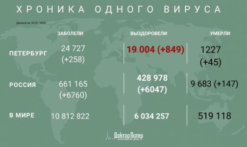 Фото №1 - За сутки коронавирус выявили у 258 петербуржцев