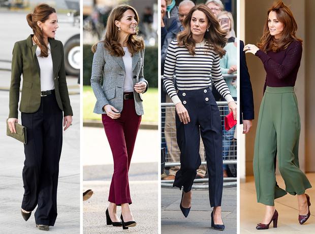 Фото №1 - Самые стильные (и неожиданные) выходы герцогини Кейт в брюках