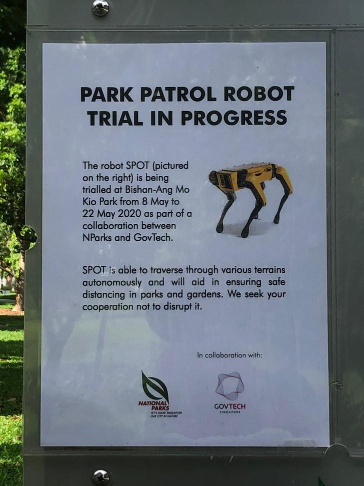 Фото №2 - «Робопёс» от Boston Dynamics начал патрулировать парк в Сингапуре, и это выглядит не так мило, как в рекламе (видео)