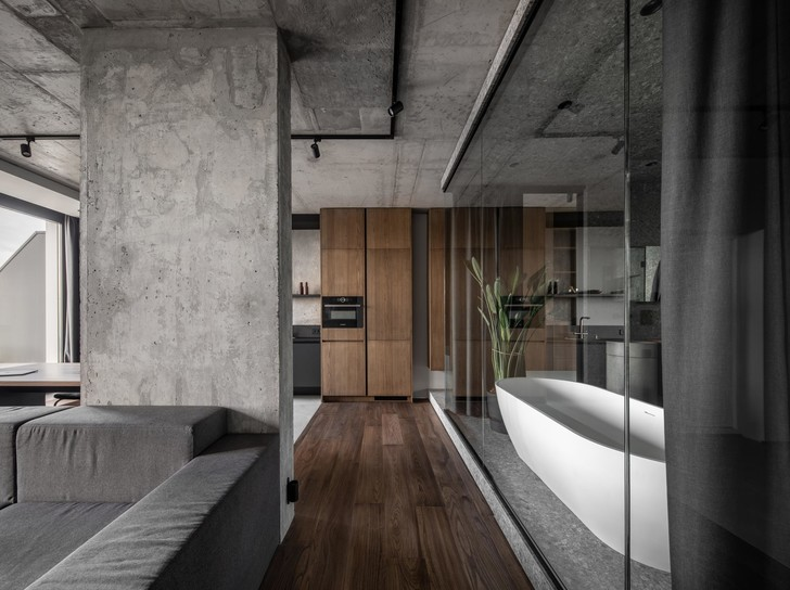 Фото №12 - Брутальная квартира 82 м² с ванной за стеклом