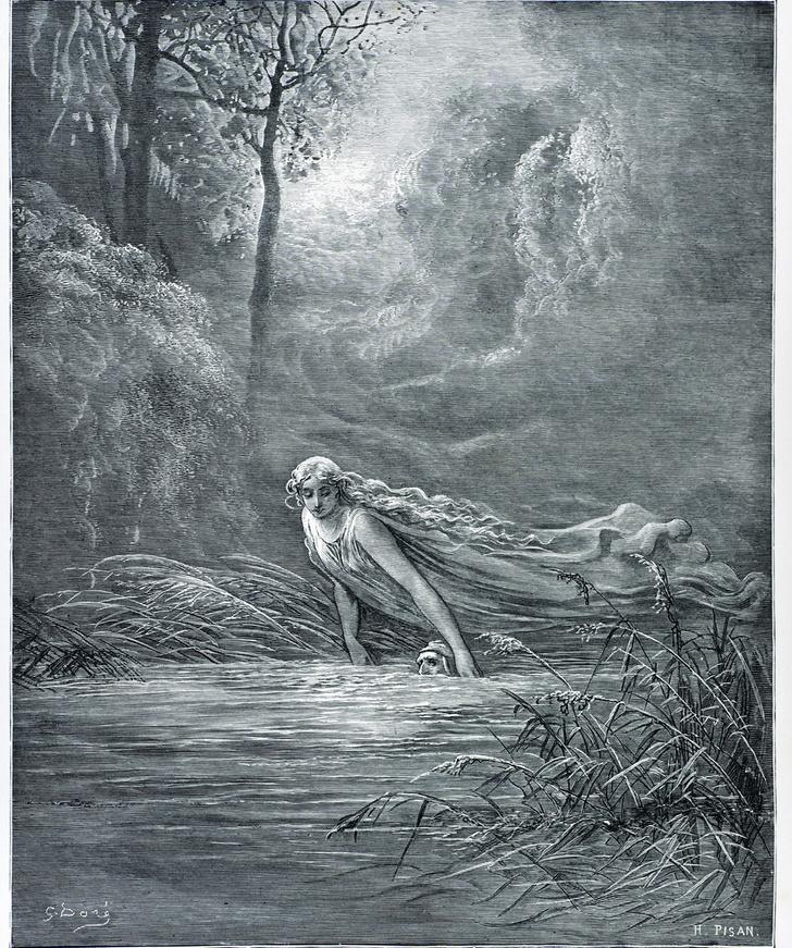 duncan1890 / Getty ImagesДанте и река Лета. Сцена из Дантова чистилища. Гравюра 1870 года. Гюстав Доре, Фото Д. Уокера