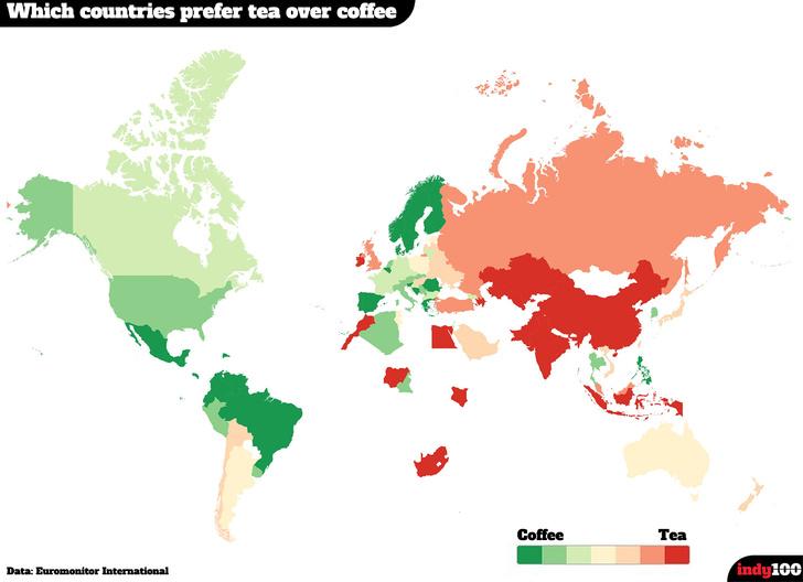 Фото №2 - Определены самые «чайные» и «кофейные» страны