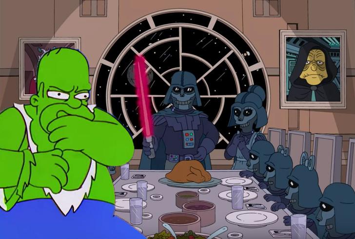 Фото №1 - Все отсылки к «Мстителям» и «Звездным войнам» в «Симпсонах» (видео)