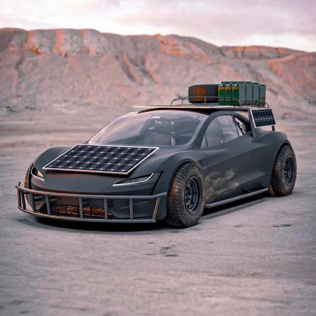 Фото №1 - Tesla Roadster в стилистике «Безумного Макса»