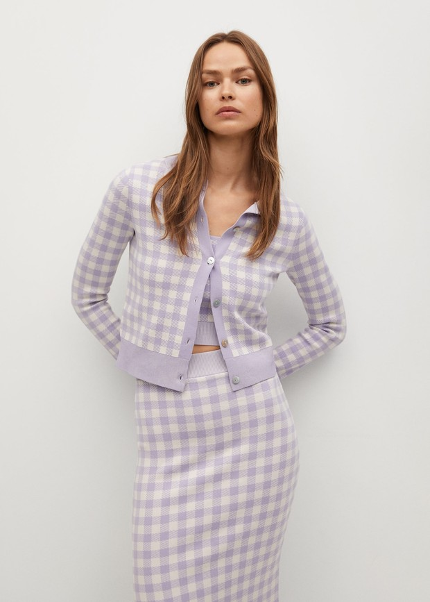 Фото №4 - Кардиган в клетку— главный бестселлер вашего гардероба. 5 классных вариантов на каждый день, как у Сьюки Уотерхаус
