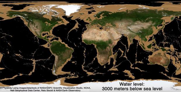 Фото №2 - Как будет выглядеть карта Земли, если уровень океана упадет на 100 метров и ниже
