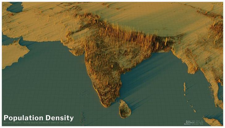 Фото №13 - Красивые трехмерные карты мира, показывающие распределение населения Земли