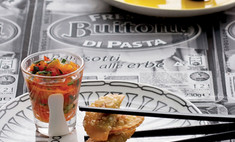 Жареные равиоли с соусом из запеченного перца